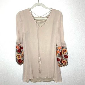 Entro Cream Embroidered Sleeve Tunic/Dress SMALL